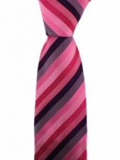 Luxury Shades of Pink and Purple Stripe Woven Silk Tie by Soprano